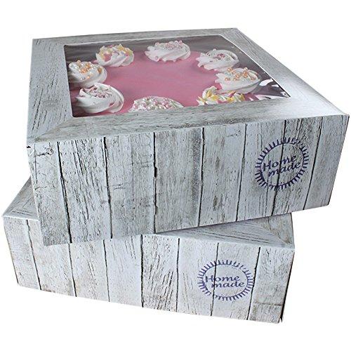FunCakes Tortenbox - Kuchenschachtel - Pure - im holzdesign - 21 x 21 x 9cm, 2 Stück