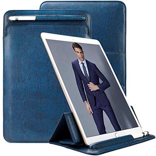 TOOVREN Ultra Dünn Ledertasche für iPad Air 3 Generation 10.5 Zoll 2019/ iPad Pro 10.5 Zoll 2017 Hülle Sleeve - Business PU Leder Schutzhülle mit Apple Pencil Halter Ständer - Blau (Ipad 32 1. Generation)