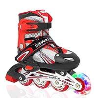 احذية تزلج من جو واك بعجلات مع اضاءة ليد، تتحول من حذاء ثلاثي العجلات الى زلاجات مضمنة | احذية تزلج للاستخدام داخل المنزل وخارجه للمبتدئين | احذية تزلج للاطفال والمراهقين 39-42 EU