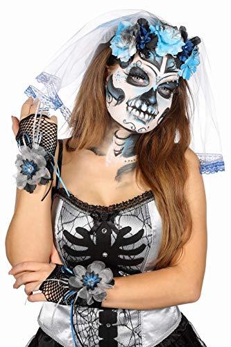 Jannes 52019 Halloween-Handschuhe Tag der Toten Day of The Death Dia de los Muertos Graue Schleife Blume Totenkopf Netzhandschuhe Einheitsgröße Grau