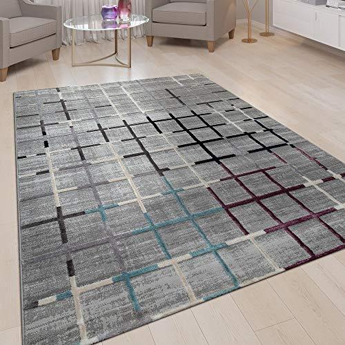 Paco Home Kurzflor Teppich Grau Bunte Akzente Weich Wohnzimmer Karo Muster 3-D Design, Grösse:200x280 cm -