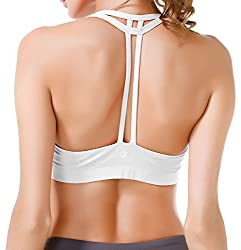 Queenie Ke Women's Light Support Cross Back Wirefree Pad Yoga Sports Bra Size M Color White