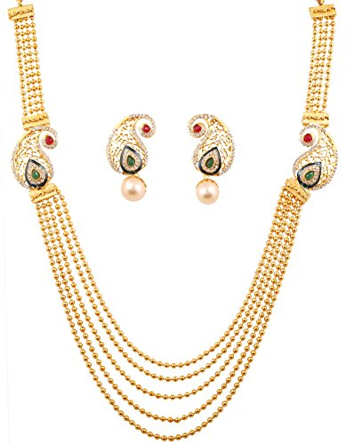 Touchstone Rani Haar Collection long multi layer Indian bollywood paisley motif white/red saree wear long bridal necklace in gold tone for women Motive Saree