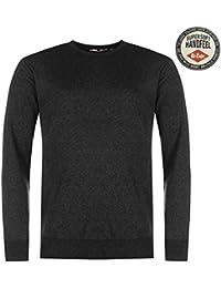 Lee Cooper col rond en tricot Pull pour homme Noir Pull Top