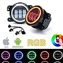 SXMA 4 Zoll 10.2cm Runde LED-Nebelscheinwerfer Farbe RGB-Halo-Ring DRL-LED-Nebelscheinwerfer Frontstoßstange Licht Bluetooth-Steuerung für 2007-2017 J eep Wrangler JK JKU