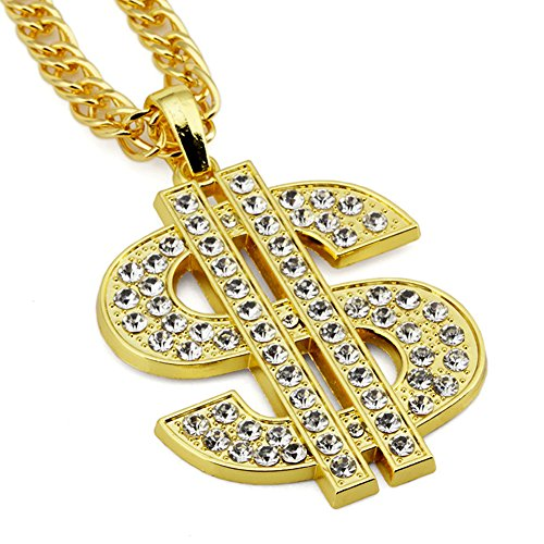Silber Kette Herren,TAKURO Hip Hop Dollar Kette Karneval Halsketten Schmuck Legierung Halskette Anh?nger Herren Ketten (Silber) (Gold Kette Schmuck)