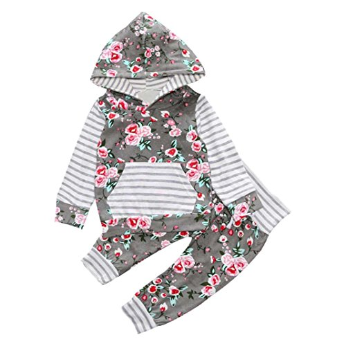 0-2 Years Baby Outfits+Pants, Transer® Boys Girls Tops+Trousers Kids Clothes Nowborn Hooded Coats 0-24 Months Infants Tshirts Toddlers Outwears & Pants Kid Clothing Set (0-6 Months, Grey)