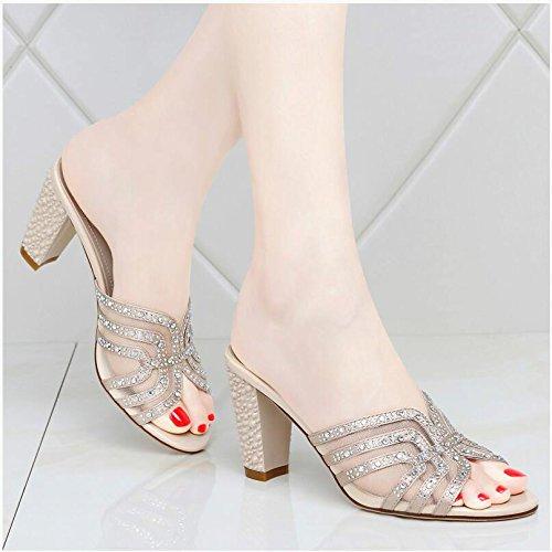 Sommer Damen Mode Sandalen komfortable High Heels, 38 Blau Gold