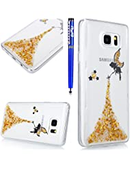 EUWLY Coque Samsung Galaxy Note 8,Housse Samsung Galaxy Note 8,Samsung Galaxy Note 8 Gel Souple Étui en Silicone TPU,Bling Bling Brillant Scintillant Transparente Crystal Silicone Ultra Mince Case Cover Telephone Portable Soft Housse Cas Prime Flex Silicone Skin Euit de Protection Shell Couverture pour Samsung Galaxy Note 8 + Stylet Bleu,Jaune