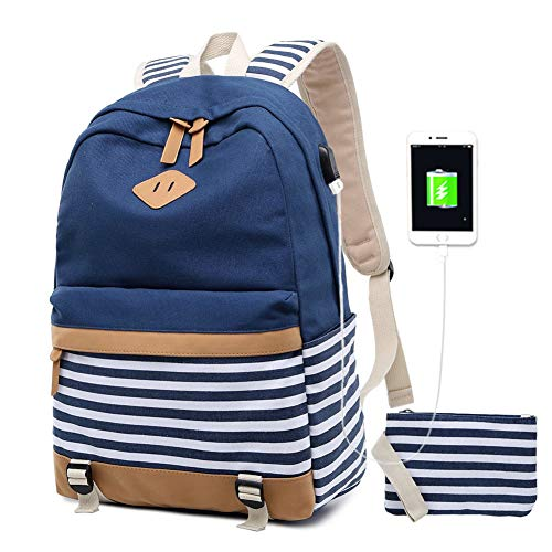 Damen Rucksack 15.6 Zoll Notebook USB Backpack Jugendliche Mädchen Schulrucksack Teenager Girls Casual Canvas Laptop Daypacks (2-Blau)