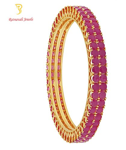 Ratnavali jewels Beautiful CZ/AD American Diamond Studded Gold Plated Traditional Red Ruby Bangles Set for Women RV475R (2.40)
