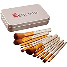 Amazon Brand - Solimo Makeup Brush Set, 12 Pieces with Tin Storage Box