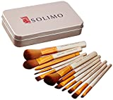 #7: Solimo Makeup Brush Set, 12 Pieces with Tin Storage Box