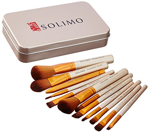 Amazon Brand - Solimo Makeup Brush Set, 12 Pieces with Tin Storage Box