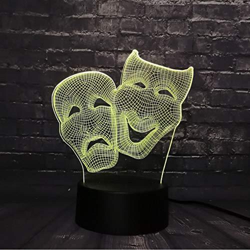 (Hlfymx Comedy Und Tradegy Mask 3D Led-Licht Figur Cartoon Charakter LavaTion 7 Farbwechsel Boy Kid Toys)