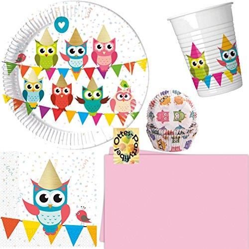 HHO My Best Friend Owl Eulen-Party Partyset 97tlg. Teller Becher Servietten Tischdecke Muffinförmchen für 8 ()