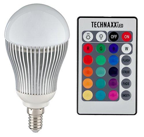 Techlight TXX3727 - Bombilla LED RGB, luz regulable, incluye mando a distancia por infrarrojos (E14, 5 W) multicolor