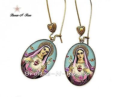 """Boucles d'oreilles """" La vierge Marie aux fleurs """" cabochon bronze bijoux fantaisie bronze-n-roses"""