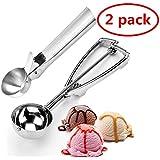 FU YUAN Set di 2 cucchiai per Gelato Cucchiaio Porzionatore Paletta in Acciaio Inox per Gelato, Purea di Patate, Cucchiaio da Cucina (1)