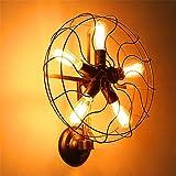 Anbiratlesn Modern Wandleuchten E27 Antik Wandlampe Vintage Rustikal Wandlampe für Schlafzimmer Wohnzimmer Bar Flur Badezimmer Küche Balkon Innen Lampe Loft Industrial Wind Retro Fan Alte dekorative Leuchten Wandleuchte