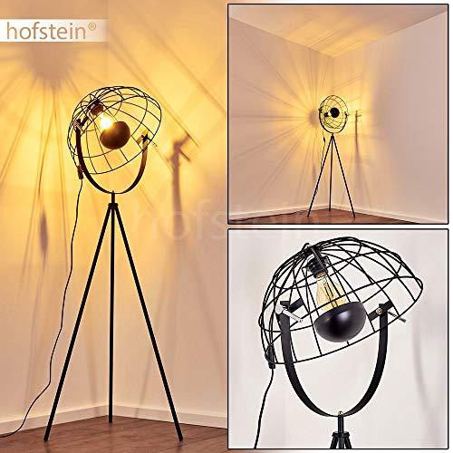 Stehlampe Saturn, Vintage Stehleuchte mit Gitter-Lampenschirm aus Metall in Schwarz, Ø 42 cm, E27-Fassung, max. 60 Watt, Bodenleuchte m. Lichteffekt im Retro-Design, auch geeignet für LED Leuchtmittel