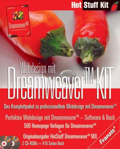 Preisvergleich Produktbild Webdesign mit Dreamweaver KIT,  2 CD-ROMs u. Buch Das Komplettpaket zu professionellem Webdesign mit Dreamweaver. Buch: 'Hot Stuff Dreamweaver MX'. Auf CD: 500 Homepage Vorlagen