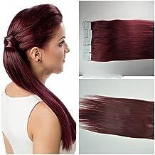 Hot sales! Meisi colour blanco y negro Remy pelo cinta adhesiva/extensiones pelo alargador en On 50 cm 2,5 G 4 cm 20 de alta calidad trenzas el cabello colour rojo #99J