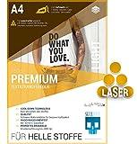 SKULLPAPER Premium A4 T-Shirt Textil-Transferfolie Bügelfolie für HELLE Stoffe / Textilien zum Bedrucken - inkl. 200+ GRATIS Motiv-Vorlagen - Transferpapier / Textilfolie für Laserdrucker Plotter (10 Blatt)