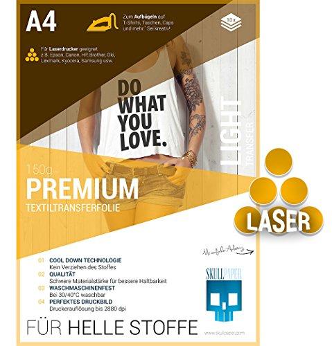 Preisvergleich Produktbild SKULLPAPER Premium A4 T-Shirt Textil-Transferfolie Bügelfolie für HELLE Stoffe / Textilien zum Bedrucken - inkl. 200+ GRATIS Motiv-Vorlagen - Transferpapier / Textilfolie für Laserdrucker Plotter (10 Blatt)