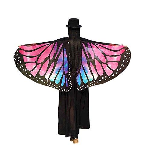 iYmitz Karneval Damen Faschingkostüme Halloween Stoff Party Schal Fee Schmetterling Flügel Kostüm Zubehör Schmetterlingsflügels Umhang(Hot Rosa,Free Size)