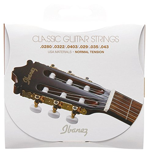 Ibanez ICLS6NT Normal Tension Clear Nylon/Silver Plated Wound .0280-.043 Saiten für Konzertgitarre
