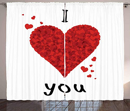 FAFANIQ I Love You Curtains, Valentine's Bouquet Shape Abstract Heart My Dear Friendship Affection Theme, Living Room Bedroom Window Drapes...