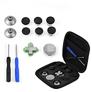 Zerone Controller Zubehör Kit für PS4 / Xbox One, 11 in 1 Reparatur Ersatzteile Kits Thumb Stick Cap Tasten für PS4 / Xbox One Controller