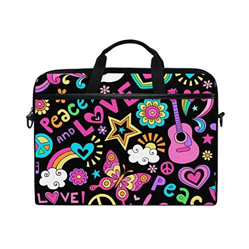 Ahomy Valentinstag Tasche/Aktentasche / Umhängetasche/Schultertasche für Laptops mit 35,6-39,1 cm (14-15,4 Zoll), Regenbogen-Herz, Love, Schmetterling, Taube, Mehrfarbig -