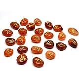 Natural Gemstone Runes Set Polished Stone Engraved Symbol 25pcs Set Crystal Chakra Healling (Carnelian)