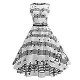 Robe de femme TuniqueFuibo Robe élégante pour femme Bodycon Mini DressFemmes Vintage impression Bodycon sans manches Casual soirée Prom Swing robe| Soirée Cocktail Dress (XXL, Blanc)