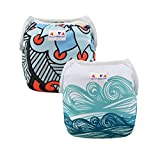 ALVABABY Swim Diapers 2pcs One Size Reuseable Washable 0-36 months (Baby Boys) SWD44-45