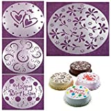 SMARTBUYER 4 Decorative Baking Cake Stencils Tool Kit 8 Inch Happy Birthday Love Rose Flower Petal Cake Decorating Stencils Spray Mould Sugarcraft Mold Round Cake Fondant craft Decorating Cutter Flower Heart Sugarcraft Mold (PACK OF 4)