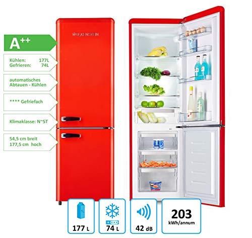 Wolkenstein KG250.4RT FR A++ Kühl-/Gefrierkombination, rot