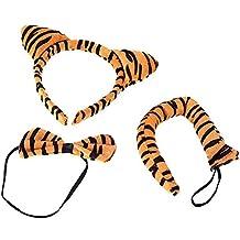 SODIAL(R)Halloween Leopard Print peluche Fluffy Cat Ear fascia Papillon Tail animali Costume Puntelli divertente vestire partito set di accessori