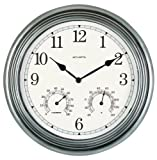Best Acurite Outdoor Thermometers - AcuRite 00920 14-Inch Pewter Indoor/Outdoor Wall Clock Review