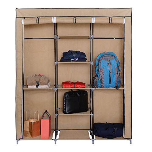 Mari Home Ashby Beige Marco de Metal Armario de Tela para Closet Textil Plegable Organizador 175 x 150 x 45 cm