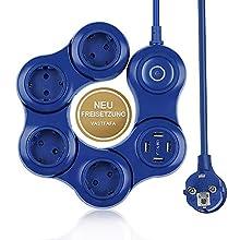 VASTFAFA Steckdosenadapter Serpentin Überspannungsschutz Eine Packung mit Kindersicherung,mit Überspannungsschutz(4-fach 4xUSB, Blau)