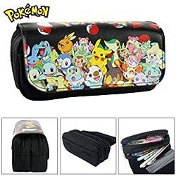 Astuccio Scuola 2scomparti Pokemon Pikachu Go Nero