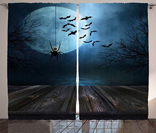 ABAKUHAUS Halloween Rustikaler Vorhang, Seeszene Fledermaus, Wohnzimmer Universalband Gardinen mit Schlaufen und Haken, 280 x 225 cm, Braun Blau