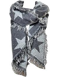 Mevina Schal Dreieck mit Stern Fransen und Wolle XXL groß rechteckig Asymmetrisch Spitz Schal Halstuch Oversized