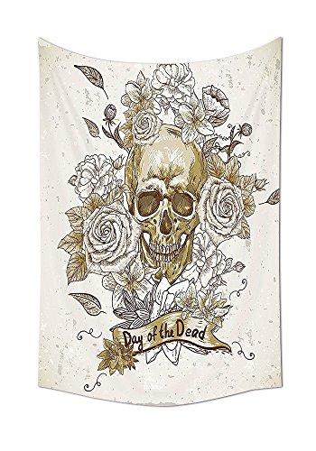 Wandteppich für Totenkopf mit Rosen Tag der Toten sich Horror Mexikanische Traditionelle Kunstdruck Schlafzimmer Wohnzimmer Wohnheim Decor Beige Braun, mehrfarbig, 59W By 80L Inch ()