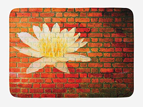 Brick Wall Bath Mat, Lotus Flower on Grunge Red Brick Wall Floral Ornamental and Modern Pattern, Plush Bathroom Decor Mat with Non Slip Backing, 23.6 W X 15.7 W Inches, Yellow White Red Brick Pizza