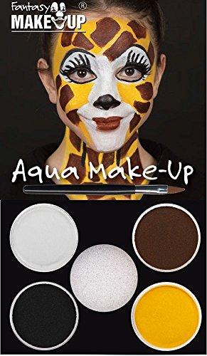 Aqua Make Up Schminkset Giraffe mit Pinsel Karneval Fasching (Giraffe Kostüm Make Up)