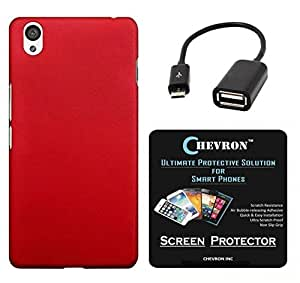 Chevron Rubberized Back Cover Case for OnePlus X with HD Screen Guard & Micro OTG Cable (Red)